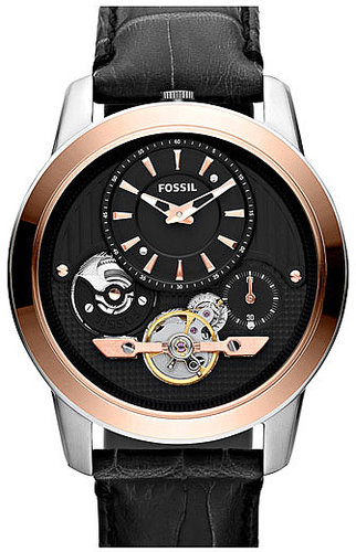 Fossil 'Twist' Leather Strap Watch, 44mm Black/ Rosegold