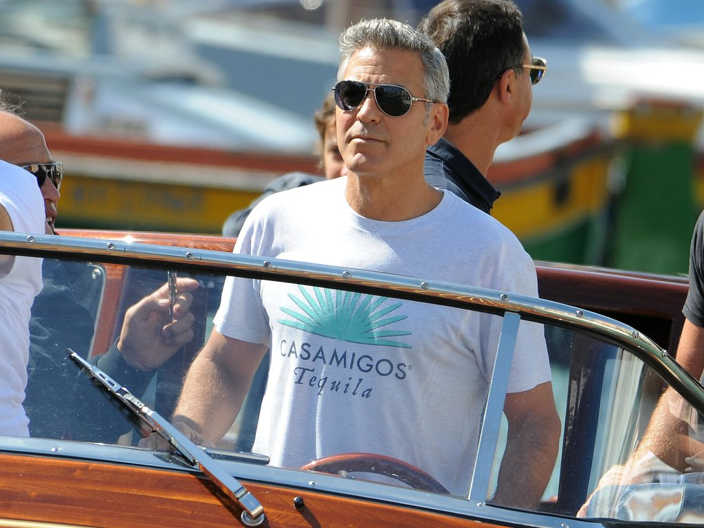 George Clooney rode a water taxi to the Venice Film Festival.