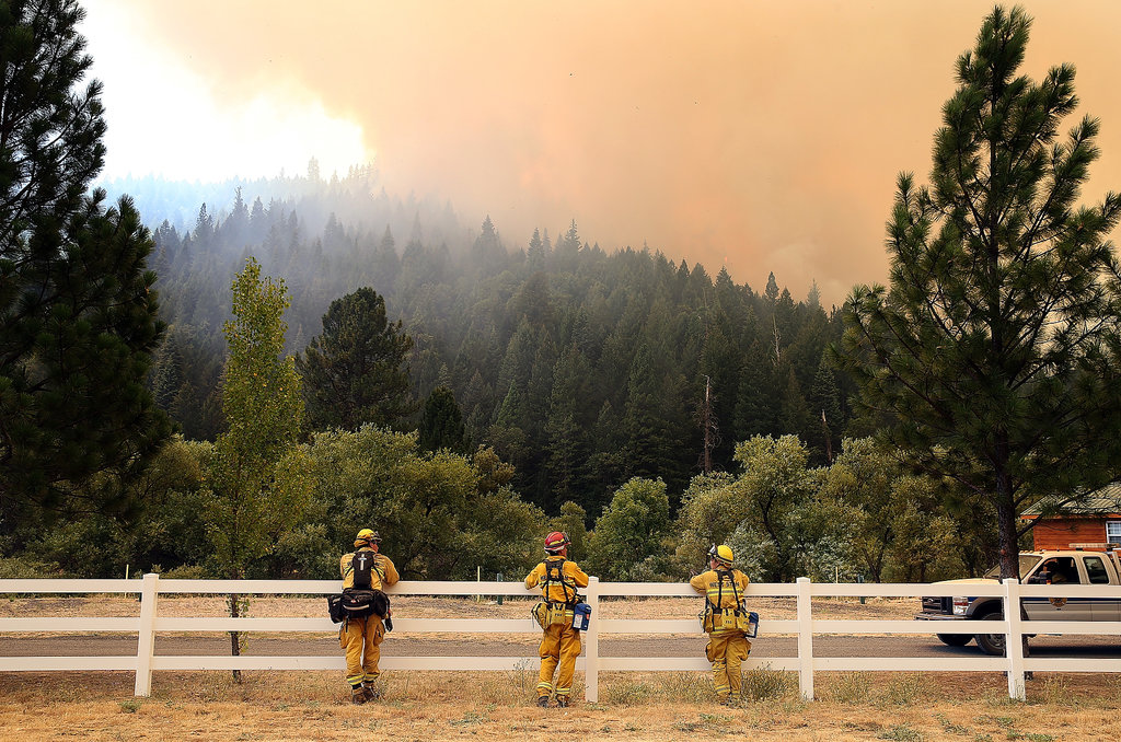 Firefighters looked on as the Rim Fire approached Yosemite Lake.