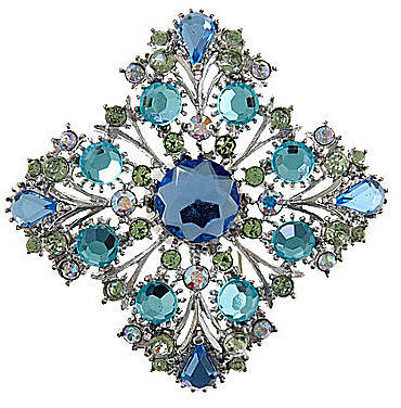 Dillard ́s Boxed Aqua Diamond Crystal Status Brooch