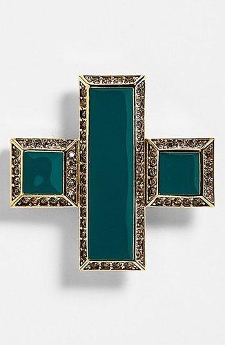 St. John Collection Enamel & Swarovski Crystal Cross Pin Light Gold/ Malachite