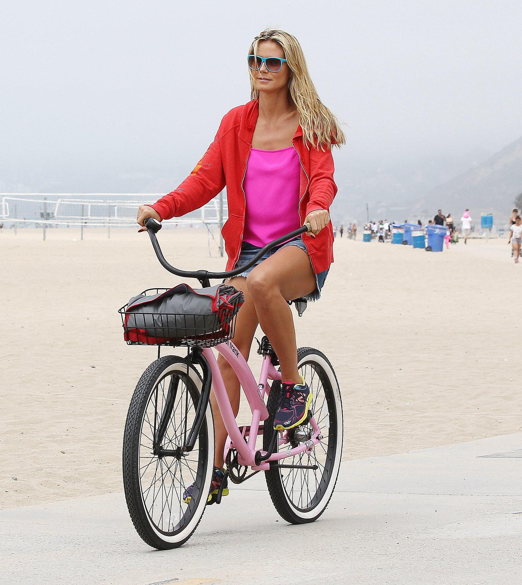 In August, Heidi Klum hit up the beach in LA on a bike.