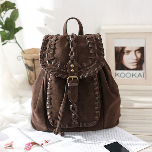 Fashion Dark Brown Braid Backpack in ByGoods.com