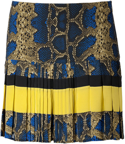 Just Cavalli Snake Print Pleated Mini-Skirt