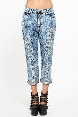 Destroyed Acid Wash Boyfriend Jeans