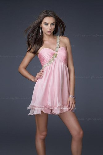 La Femme 16060 MIni Short One Shoulder Strap Homecoming Pink Dresses