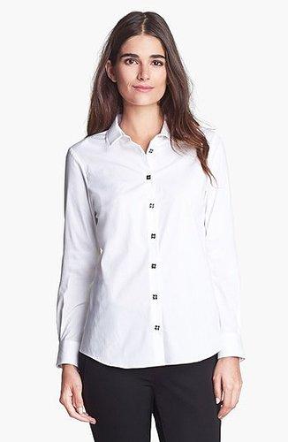 Pink Tartan Pleated Collar Shirt White 14