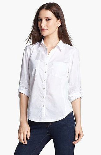 Eileen Fisher Classic Collar Shirt (Plus Size) White 1X