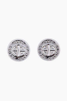 MARC BY MARC JACOBS Silver Logo Turnlock Stud Earrings