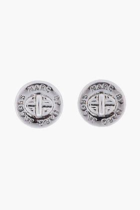 MARC BY MARC JACOBS Silver Logo Turnlock Stud Earrings