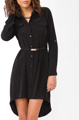 FOREVER 21 Belted Satin Shirtdress