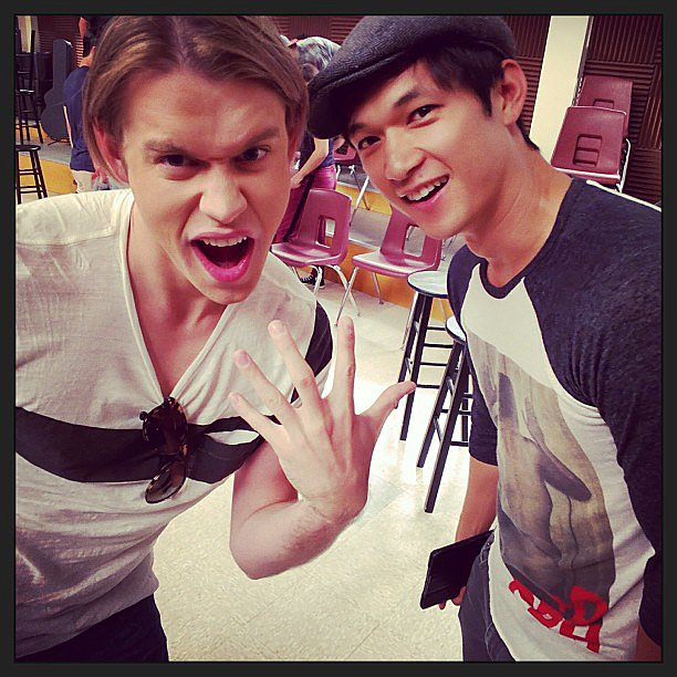 Chord Overstreet and Harry Shum Jr. got silly on the set of Glee. Source: Instagram user harryshum