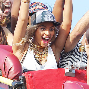 Beyonce Knowles Riding a Rollercoaster at Coney Island