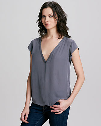 Joie Rubina Matte Silk Deep-V Top