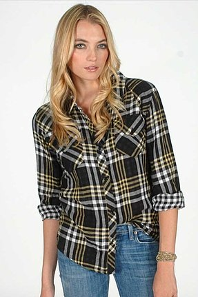 Rails Kendra Gauze Plaid Shirt in Black/Yellow