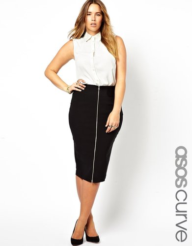 ASOS CURVE Bengaline Pencil Skirt With Zip