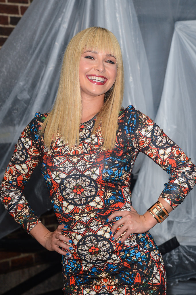 Hayden Panettiere debuted new bangs during a stop on Late Show With David Letterman.