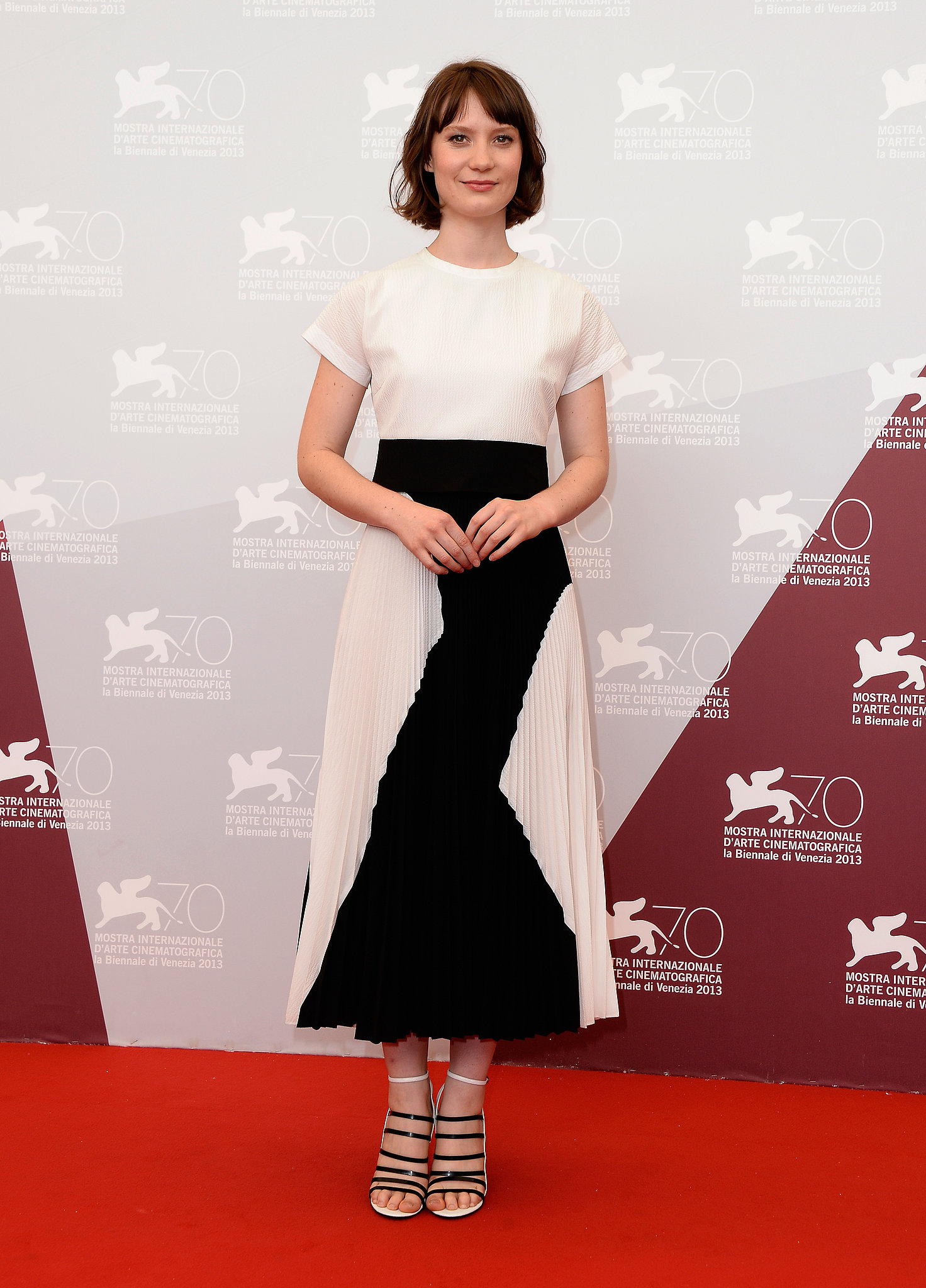 Mia Wasikowska posed on the red carpet at the photocall for Tracks.