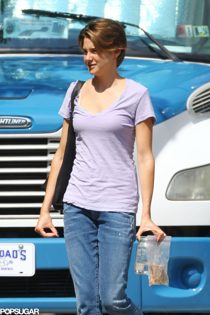 Shailene Woodley sported a new, shorter haircut on the set of The Fault in Our Stars.