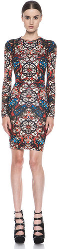 Alexander McQueen Stained Glass Print Dress in Red Multi