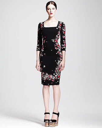 Dolce & Gabbana Square-Neck Floral Sheath Dress