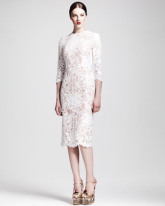 Dolce & Gabbana Scalloped Lace Midi Dress