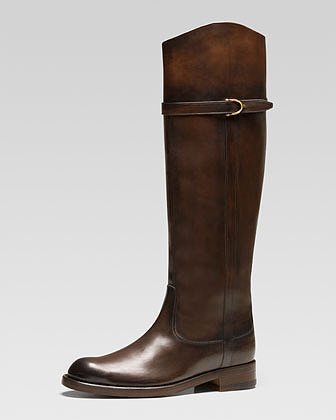 Gucci Eleonora Leather Riding Boot, Dark Brown