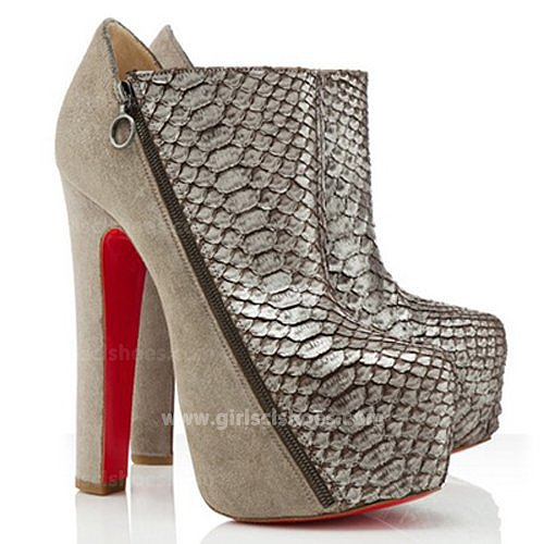 Taupe 4A 160mm Christian Louboutin Python Suede Ankle Boots On Sale