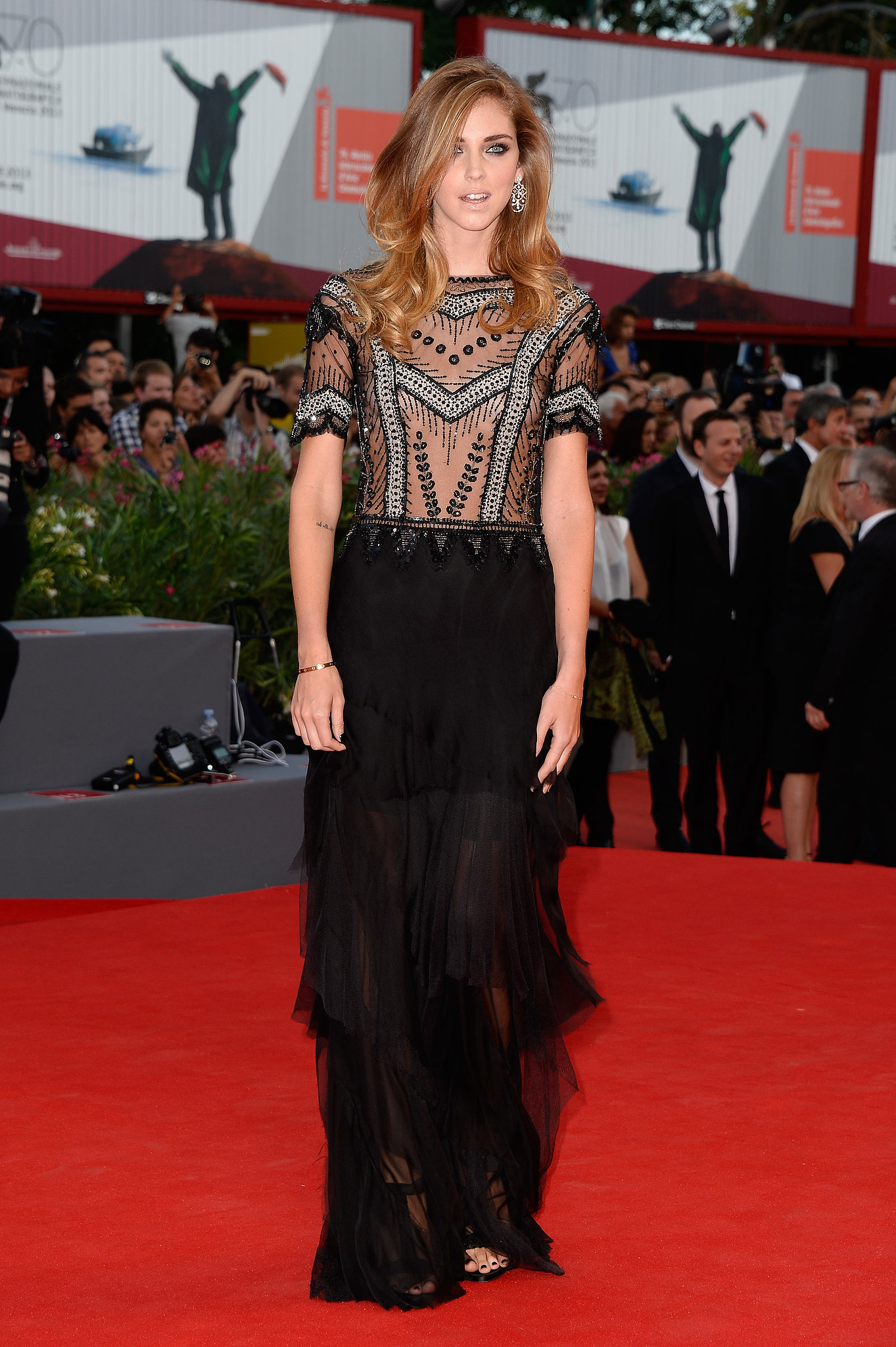 Chiara Ferragni sparkled in a drop-waist style on the Venice Film Festival Gravity red carpet.