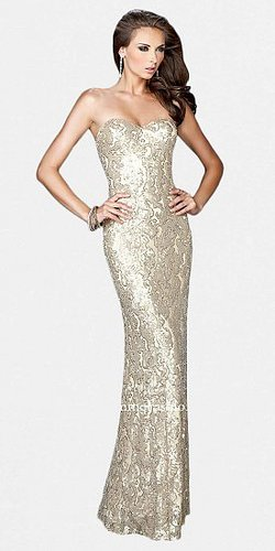 Strapless Brocade Sequined Metallic Prom Dresses by La Femme