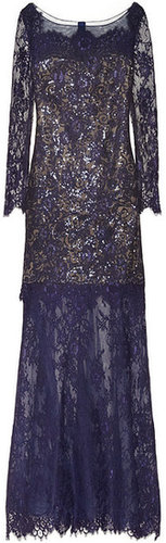 Notte by Marchesa Sequin-embellished lace and tulle gown