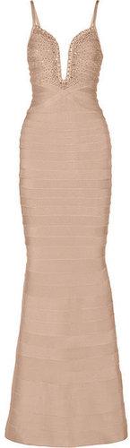 Hervé Léger Embellished bandage gown