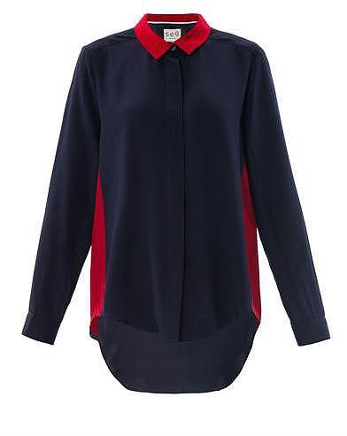 Sea Colour-block silk blouse