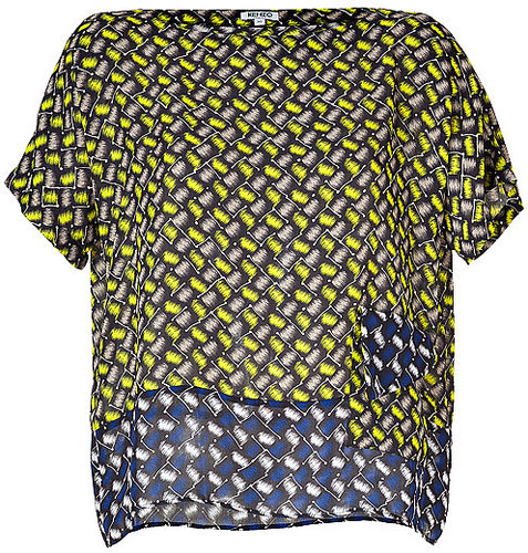 KENZO Yellow/Blue Graphic Print Short Sleeve Top