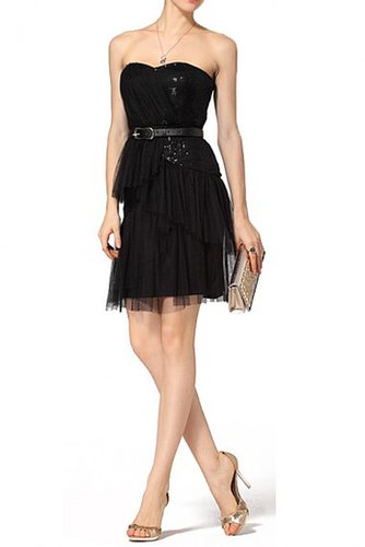 BCBG BLACK SILK TIERED BUSTIER COCKTAIL DRESS