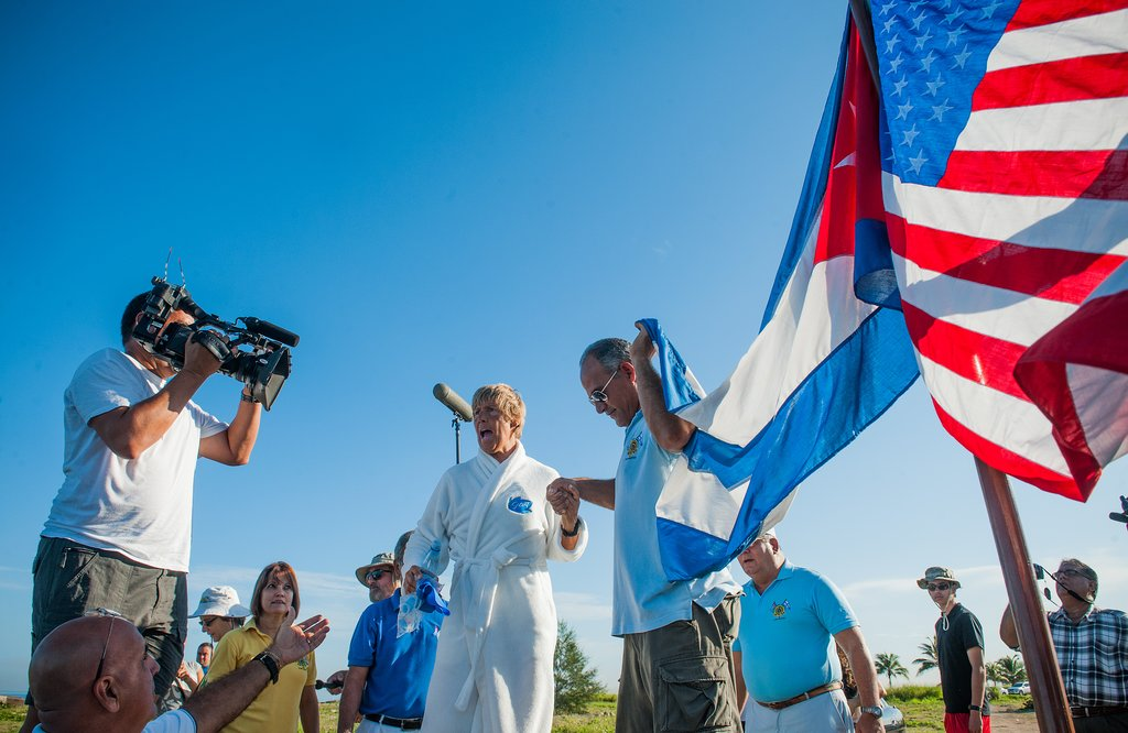 Diana Nyad delivered a speech in Havana before heading into the water.