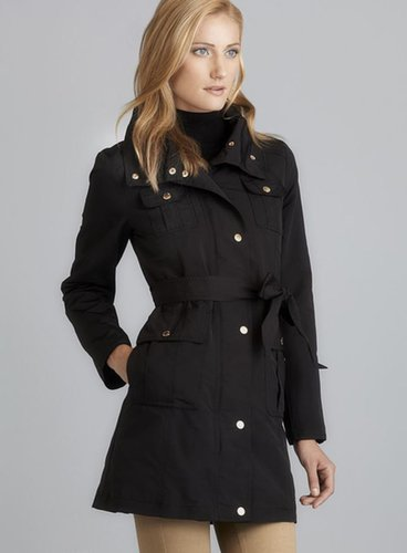 Ellen Tracy Stand Up Collar Belted Raincoat