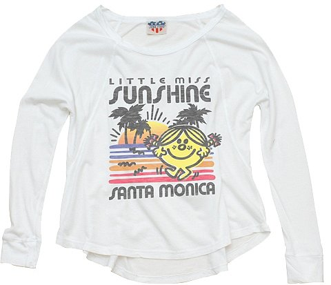 Mr. Men Little Miss by Junk Food - Girl's Little Miss Sunshine Santa Monica Long Sleeve Top - Electric White