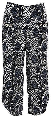 Mandi Grey Snake Print Cropped Trousers