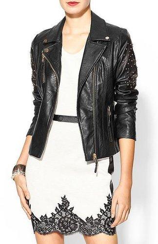 Rhyme Los Angeles Vegan Leather Studded Arm Moto Jacket