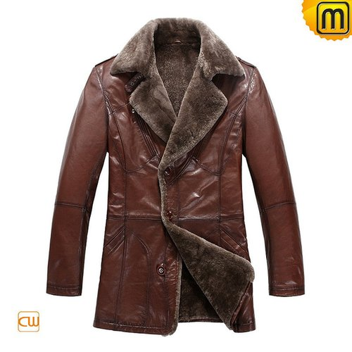 Mens Fur Lined Leather Coat CW819069