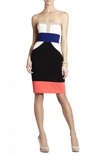 BCBG REESE STRAPLESS COLOR-BLOCKED DRESS