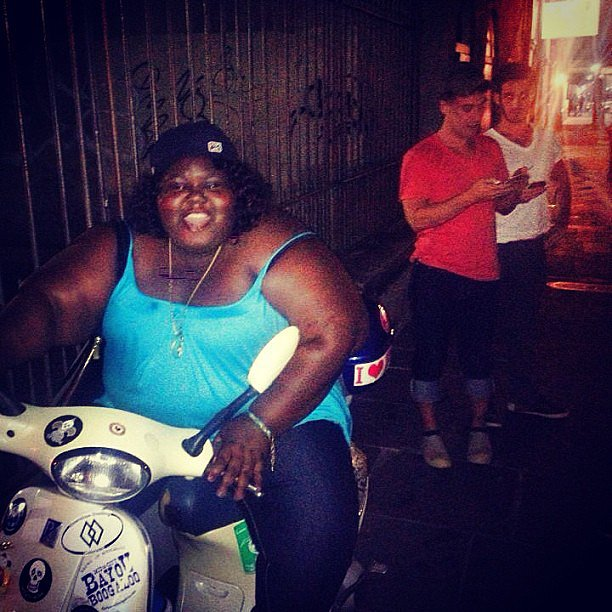 """Gabourey Sidibe tried to """"steal a scooter"""" during an outing in New Orleans with Lance Bass and Michael Turchin. Source: Instagram user lancebass"""