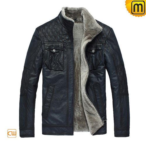 Blue Fur Lined Leather Jacket CW819421