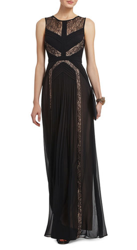 BCBG AVI PLEATED EVENING GOWN