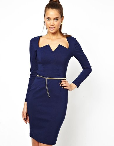 Paper Dolls Pencil Dress with Plunge Neck