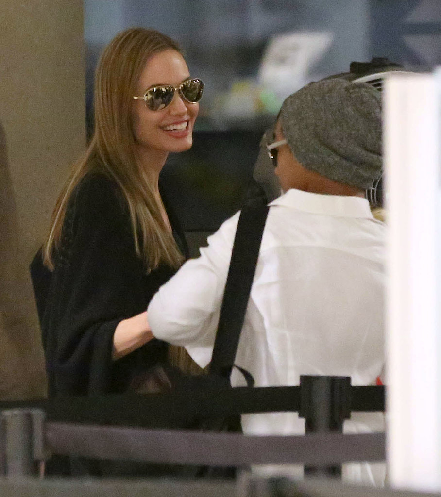 Angelina Jolie chatted with Maddox.