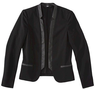 Mossimo® Womens Faux Leather Trim Dinner Jacket - Black