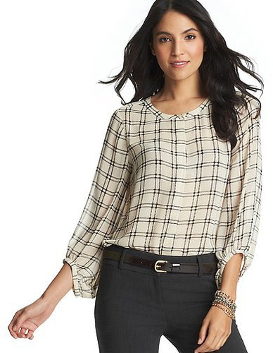 Blurred Plaid Swing Blouse
