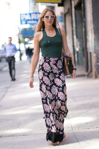 Floral pants were the superstar of this look.